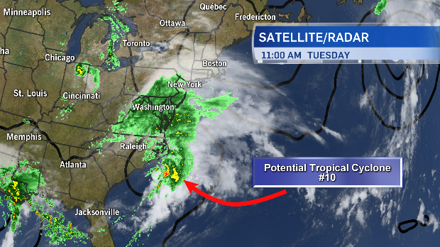 Current position of Potential Tropical Cyclone #10.  Expected to slide south of Sable Island Wednesday night!