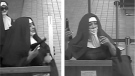 Two suspects are shown in nun's habits and veils in this photo taken from security footage at a bank in Tannersville, Pa. (FBI Philadelphia / Twitter)