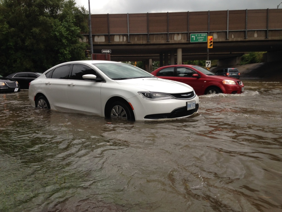 Streets flood due to large amounts of rain in Windsor, Ont., on Tuesday, Aug. 29, 2017. (CTV Windsor)