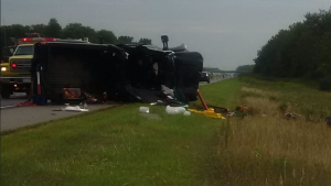 The scehen of a fatal crash on Highway 401 east of Dutton Ont. in Aug. 2017. (Source: OPP)
