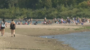 Beach-goers at the Cloverdale Beach on Tuesday, August 29, 2017.