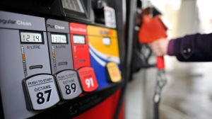 A motorist reaches for the pump at a gas station in Toronto on Thursday, Feburary 24, 2011. (Patrick Dell / THE CANADIAN PRESS)