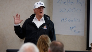 President Donald Trump speaks as he participates in a tour of the Texas Department of Public Safety Emergency Operations Center, Tuesday, Aug. 29, 2017, in Austin, Texas. (AP Photo/Evan Vucci)