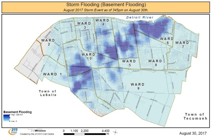 Basement flooding map for Windsor, Ont. (Courtesy City of Windsor)