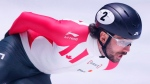 Canada's Charles Hamelin competes in the men's 1,000 metre quarterfinal race of the ISU World Short Track Speed Skating Championships at Ahoy stadium in Rotterdam, Netherlands, Sunday, March 12, 2017. (Peter Dejong/AP/The Canadian Press)