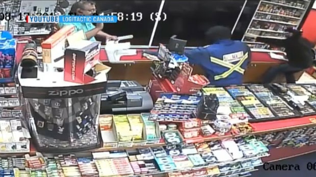 Heart-pounding security footage of a violent robbery at a Calgary convenience store captured a fearless clerk trading blows with a man and woman.
