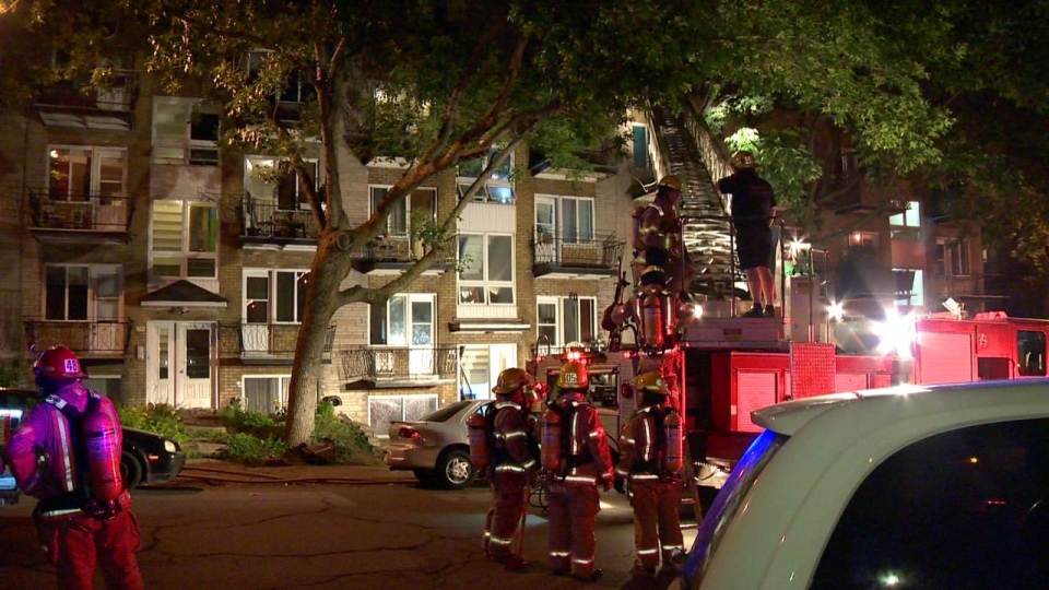 The fire broke out in an apartment building located in the Hochelaga neighbourhood early Thursday morning. (Cosmo Santamaria / CTV Montreal)