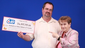 Michael Hobson and his mother, Velma Hobson, won $6.4 million from Lotto 649. (OLG)