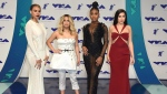 This Aug. 27, 2017 file photo shows Dinah Jane, from left, Ally Brooke, Normani Kordei, and Lauren Jauregui of Fifth Harmony at the MTV Video Music Awards in Inglewood, Calif. The group releases their self-titled album this week. (Photo by Jordan Strauss/Invision/AP, File)