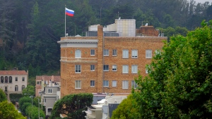 This Thursday, Aug. 10, 2017 photo shows the Consulate-General of Russia in San Francisco. (AP Photo / Eric Risberg)