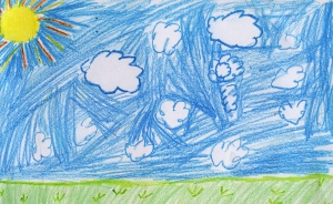 Weather art by Diaha, age 7.
