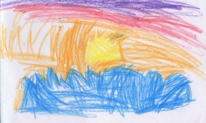 Weather art by Cecelia, age 5.