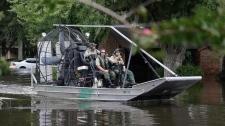 A U.S. Border Patrol air boat in Houston