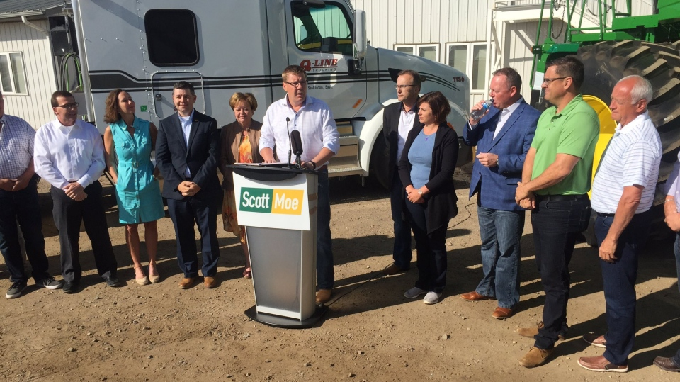 Scott Moe announces his candidacy for the Saskatchewan Party leadership on Friday at Q-Line Trucking in Saskatoon. (MOSES WOLDU/CTV SASKATOON)