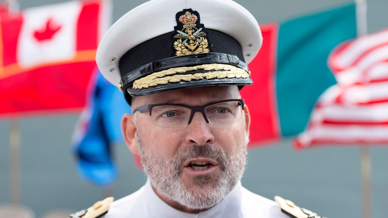 Rear Admiral Craig Baines talks with reporters after a Change of Command Ceremony for Maritime Forces Atlantic and Joint Task Force Atlantic in Halifax on Friday, Sept. 1, 2017. (Andrew Vaughan/THE CANADIAN PRESS)