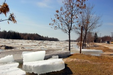 Ice is pushed onto banks of the river in Arborg, Man. Arborg is about 100 km north of Winnipeg. (Koby Wiebe / MyNews.CTV.ca)