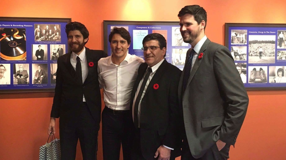 Members of the Hadhad family and Trudeau