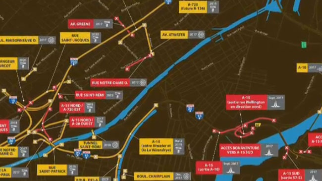 A glimpse at some of the total and partial road closures coming to Montreal during the fall.