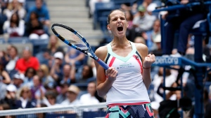 Karolina Pliskova, of Czech Republic, reacts after defeating Zhang Shuai, of China, during the third round of the U.S. Open tennis tournament, Saturday, Sept. 2, 2017, in New York. (Jason Decrow/AP Photo)