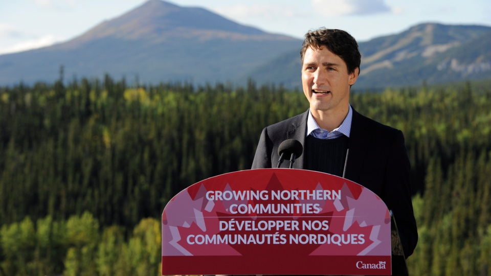 Prime Minister Justin Trudeau announces at a press event in Whitehorse, Yukon, Saturday, September 2, 2017. THE CANADIAN PRESS/Joel Krahn