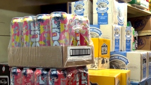 Four Loko cans on display in Quebec
