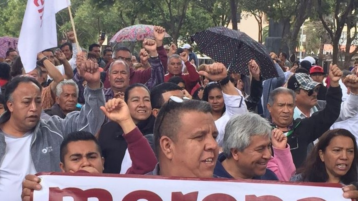 A protest calling for better labour standards and working conditions is held in Mexico City, on Sunday, Sept. 3, 2017. (Richard Madan)