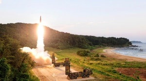 In this photo provided by South Korea Defense Ministry, South Korea's Hyunmoo II ballistic missile is fired during an exercise at an undisclosed location in South Korea, Monday, Sept. 4, 2017.  (South Korea Defense Ministry via AP)