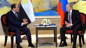 Russian President Vladimir Putin, right, and Egyptian President Abdel-Fattah el-Sissi hold a bilateral meeting on the sidelines of the BRICS Summit in Xiamen, Fujian province, China, Monday, Sept. 4, 2017. (MENA via AP)