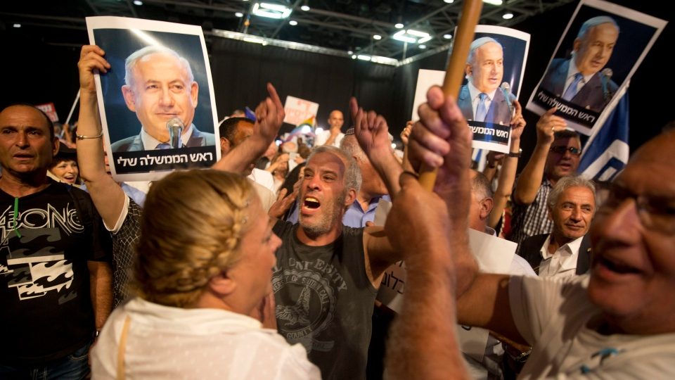 Supporters of Israeli Prime Minister Benjamin Netanyahu attend a Likud Party conference, in Tel Aviv, Israel, on Aug. 9, 2017. (AP / Oded Balilty, File)