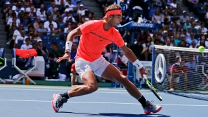 Rafael Nadal, of Spain, returns a shot from Alexandr Dolgopolov, of Ukraine, during the fourth round of the U.S. Open tennis tournament, Monday, Sept. 4, 2017, in New York. (Julie Jacobson/AP Photo)