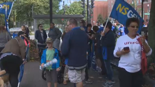 Teachers in Halifax saw Labour Day as a chance to remind Premier Stephen McNeil that they're still not over their contract dispute, Sept. 4, 2017.