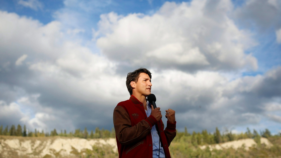 Prime Minister Justin Trudeau speaks at a community event at the Kwanlin Dun Cultural Centre in Whitehorse, Yukon on Friday, Sept. 1, 2017. (Joel Krahn/The Canadian Press)