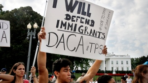 Diego Rios, 23, of Rockville, Md., rallies in support of the Deferred Action for Childhood Arrivals program, known as DACA, outside of the White House, in Washington, Tuesday, Sept. 5, 2017. (AP / Jacquelyn Martin)