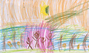 Weather art by Rosivo, age 6.