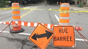 De Lorimier Ave. between Laurier Ave. and Masson St. is closed for inspection. (photo: Jean-Luc Boulch / CTV Montreal)