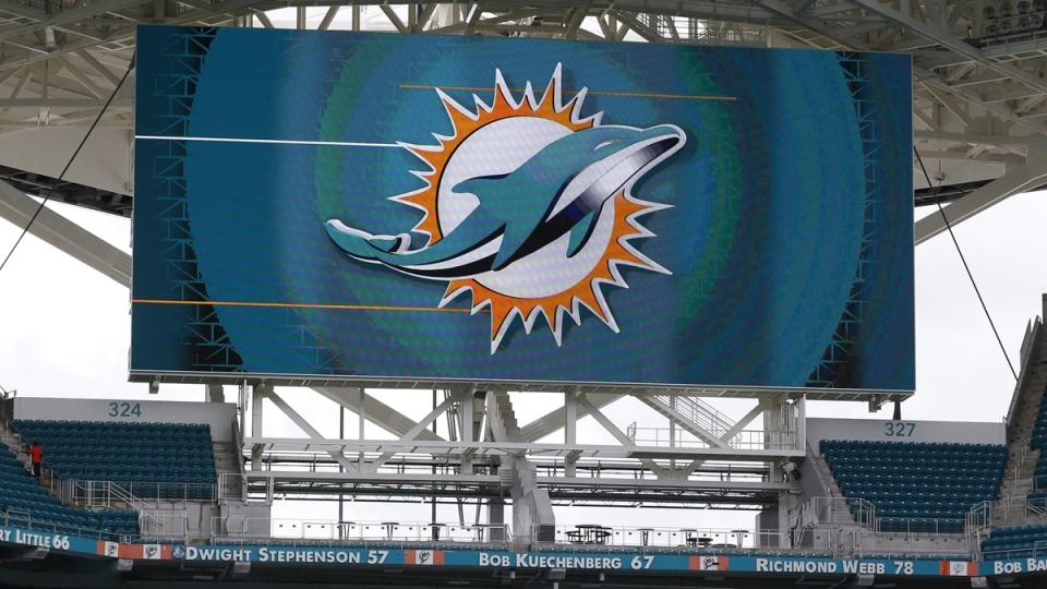 Miami Dolphins logo at Hard Rock Stadium