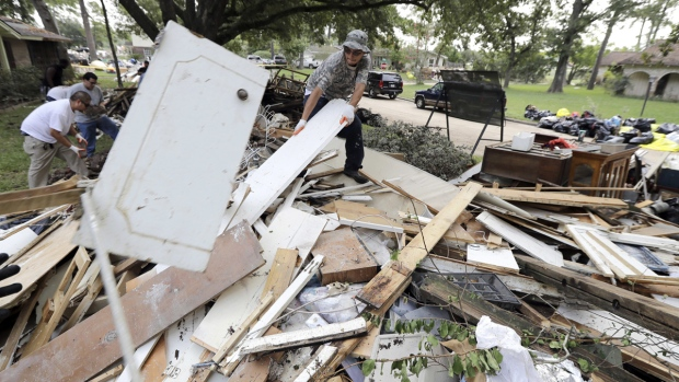 Debris from a home damaged by Hurricane Harvey