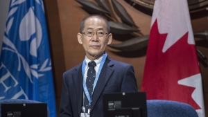 Hoesung Lee, chair of the Intergovernmental Panel on Climate Change, arrives for the opening session on Sept. 6, 2017 in Montreal. (THE CANADIAN PRESS / Paul Chiasson)