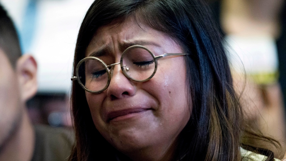 Karen Caudillo, 21, of Florida gets emotional during a DACA news conference on Capitol Hill in Washington on Sept. 6, 2017. (AP / Jose Luis Magana)