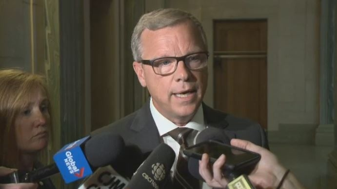Saskatchewan Premier Brad Wall speaks to media at the legislative building in Regina on Wednesday, Sept. 6, 2017.
