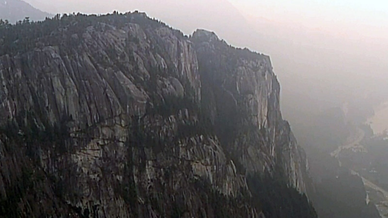 The Stawamus Chief is seen from CTV's Chopper 9 on Wednesday, Sept. 6, 2017.