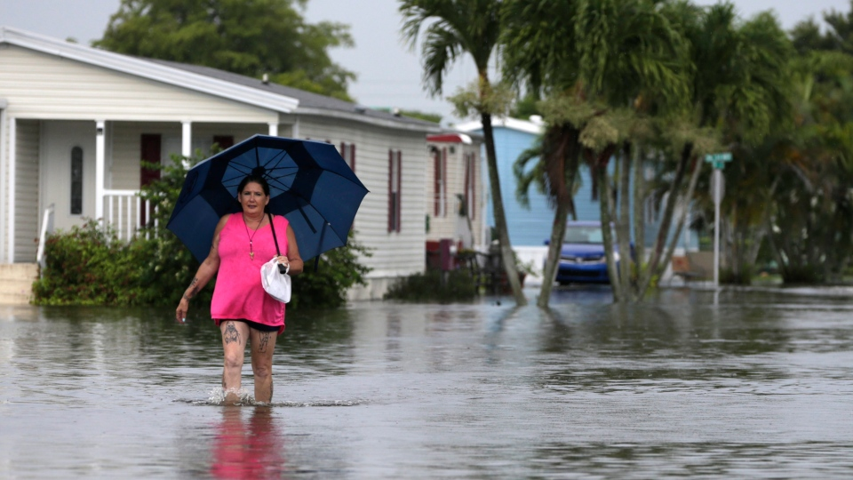 This June 7, 2017 file photo shows Peggy Wallace walking near her flooded neighborhood in Davie, Fla. (AP Photo/Lynne Sladky, File)