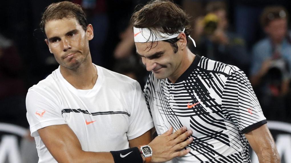Roger Federer, right, and Rafael Nadal