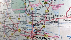 Weirdale, Sask., located about 50 kilometres northeast of Prince Albert, is shown here on a map of Saskatchewan.