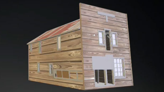 3D model of Fort Macleod's Quon Sang Lung laundry building (image: Peter Dawson)