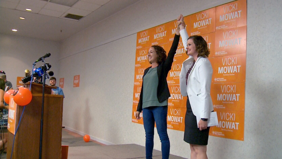 Provincial NDP interim leader Nicole Sarauer raises Vicki Mowat's arm after Mowat claimed victory in the Saskatoon Fairview byelection Thursday, Sept. 7, 2017.