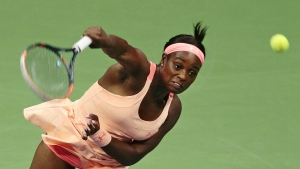 Sloane Stephens, of the United States, serves to Venus Williams, of the United States, during the semifinals of the U.S. Open tennis tournament in New York on Thursday, Sept. 7, 2017. (AP / Andres Kudacki)
