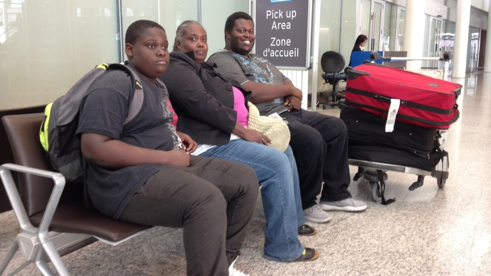 Family lands at Pearson Airport in Mississauga, Ont. after fleeing Hurricane Irma in the Bahamas. (KC Colby/CTV Barrie)