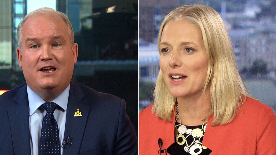 Environment Minister Catherine McKenna and Conservative foreign affairs critic Erin O'Toole on CTV's Question Period.