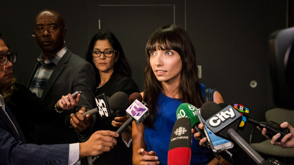 Activist Jodie Emery speaks to reporters after Ontario ministers detailed Ontario's solution for recreational marijuana sales, in Toronto on Friday, September 8, 2017. (Christopher Katsarov/The Canadian Press)